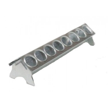 Žlabové krmítko kovové pro drůbež - 30 cm - kruhové díry