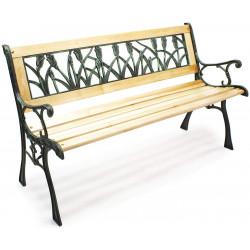 Zahradní lavička Delta - kovová se dřevem, 122 x 54 x 73 cm