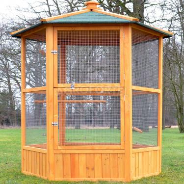 Voliéra pro ptáky - MAXI - masivní dřevo, šestihranná