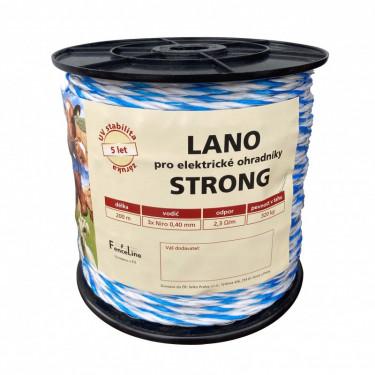 Lano STRONG pro el. ohradník, 4,5 mm, 3x0,40 mm Niro, 200 m, barva